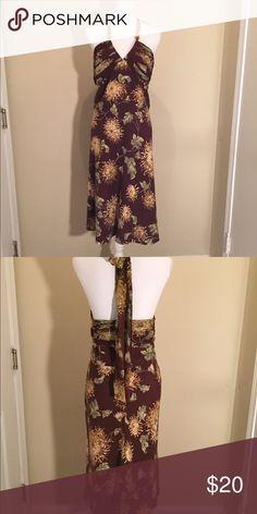 Backless Brown Floral Dress Brown Floral Halter dress. Back zipper for a great fit. Dresses Backless