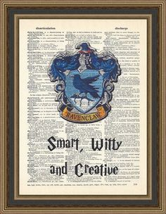 Harry Potter Ravenclaw crest, typography Smart, Witty and Creative printed on a vintage dictionary page. Hogwarts Crest Print, Kids Decor.