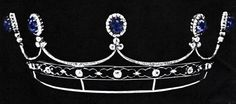 Jussopows Sapphire Diamond Tiara. This attractive Sapphire and Diamond Tiara of coronet shape, set with five cabochon sapphires of 19 ct with diamond surrounds and set off by diamond trefoils upon a diamond pierced white gold mount, was auctioned in 1971 at Geneve, from the possession of the Jussupows. Princess Irina, died in 1970 and this item would be of her property and was made after the escape from Russia, because it is made of white gold,