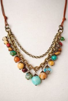 "Showcasing earthy hues with grounded elements for fall, this handmade multi strand necklace features an ntique brass and gemstone focal on a leather necklace. An excellent addition to your designer jewelry collection! Antique brass, leather Czech glass, turquoise, jasper 22-24"""" adjustable length, lobster claw clasp Our unique handcrafted designer jewelry for women is made in America, each design created individually in our personal design studio in Floyd VA USA"