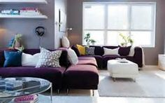 Can mix up the leather furniture with purple and gray