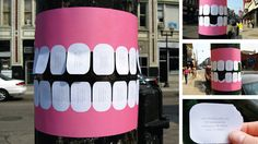 Dentist Telephone Pole Flyer With Tear-Off Teeth Dr. John Mullaly, a dentist in Muskegon, MI, came up with a creative approach to advertising his dental services by posting telephone pole flyers with tear-off teeth. Street Marketing, Guerilla Marketing, Marketing Ideas, Email Marketing, Marketing Poster, Marketing Products, Experiential Marketing, Viral Marketing, Marketing Branding