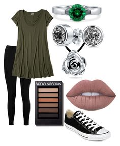 """""""cute leggings outfit 5"""" by zombiebarbie1333 on Polyvore featuring Boohoo, Hollister Co., BERRICLE, Bling Jewelry and Converse"""