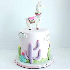 Cake Designs For Girl, 1st Birthday Cake For Girls, Cactus Cake, Llama Birthday, Summer Cakes, Just Cakes, Novelty Cakes, Girl Cakes, Cake Creations