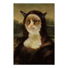 Grumpy Cat Mona Lisa Print lisa print, mona lisa, grumpi cat, card review, art, cat mona, cat card, poster prints, grumpy cats