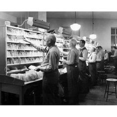 Postal workers sorting mails in a post office Worchester Massachusetts USA Canvas Art - (18 x 24)