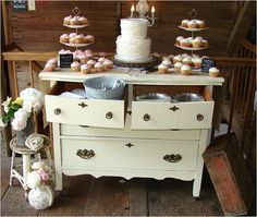vintage wedding dessert table using a chest of drawers #lovethisidea #desserttable #vintagecake http://www.weddingchicks.com/2013/10/30/country-wedding-2/