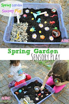 Spring Garden Sensory Play is perfect for learning about plants and insects while using sensory skills. - abccreativelearning.com