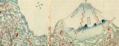 Japanese Wood Block Map showing Mt Fuji (1830s)