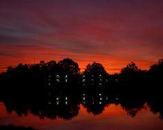 Campus Lake at sunset. #SIU