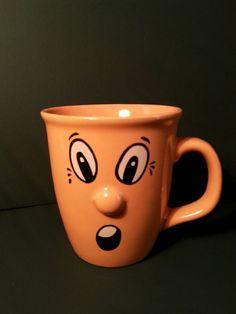 Smiley Face Coffee Mug Cup Orange 3 D Protruding Nose Surprise Face 12 oz