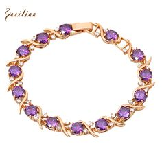 Pendientes Gold plated Made With Genuine Austrian Crystals amethyst Bracelets Purple Cubic Zirconia 18.5cm 7.28 inch B101