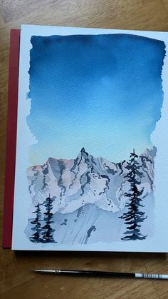 Watercolor snowy mountain - drawing inspo - Any beginner that learn to paint snowy mountain landscapes in my new beginners watercolor Skillshar - Watercolor Trees, Watercolor Landscape, Landscape Paintings, Watercolor Paintings, Simple Watercolor, Tattoo Watercolor, Watercolor Animals, Watercolor Background, Abstract Watercolor