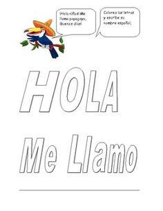 Spanish Me Llamo Name tag label/ tabel tent for student