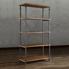@Overstock - This Myra Bookcase has a weathered and timeworn patina allowing traces of natural wood and original colors to show through. The frame is made of black sand metal with each shelf providing storage for books, magazines and other decorative accoutrements.http://www.overstock.com/Home-Garden/Myra-Brown-40-inch-Wood-Bookcase/7031295/product.html?CID=214117 $354.99