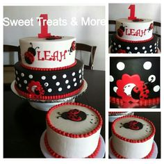 Love these tiers with a big ladybug on top. Also a smaller tier with a little ladybug on top for the smash cake. Ladybug Cakes, Ladybug Party, Birthday Cake Girls, 1st Birthday Parties, Birthday Ideas, San Antonio, Cake Creations, Creative Cakes, Celebration Cakes