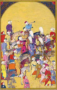 Janissaries marching to Mehter martial tunes played by the Mehterân military band. Ottoman miniature painting, from the Surname-i Vehbi at the Topkapı Palace Museum in Istanbul. Janissaries - Wikipedia, the free encyclopedia Ottoman Turks, Islamic Paintings, Turkish Art, Ottoman Empire, Illuminated Manuscript, Islamic Art, Gustav Klimt, Indian Art, Art And Architecture