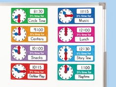 Magnetic Scheduling Clocks - Set of 8