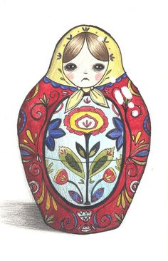 Russian doll ART PRINT by Manuela Jarry