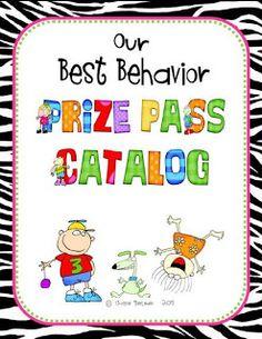 A first grade teacher's behavior plan including behavior punch pass, prize catalog and coupon printables