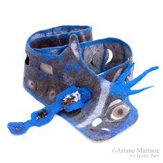 Felt Scarf - Blue Gray Women Shawl -Eccentric Autumn Winter Scarf - High Fashion Accessories from Paris