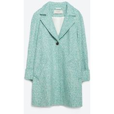 Zara Wool Coat (51 CAD) ❤ liked on Polyvore featuring outerwear, coats, jackets, turquoise green, zara coats, green wool coats, wool lined coat, woolen coat and green coat