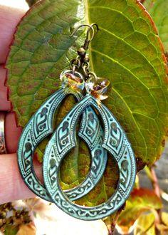 Bohemian earrings in Verdigris Patina with by McKeeJewelryDesigns