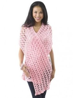 "Yarnspirations.com - Caron ""Pink Ribbon"" Shawl - Prayer Shawls 