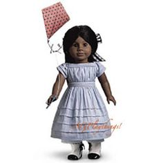 Addy's Kite-Flying Outfit Item# AKO $24 -Released 2004 Retired 2005  Addy's mother made her this stylish summer dress with tucks she can let down as she grows. Tie her hair in a gingham hair ribbon, and help her fly her kite! Addy made it with fabric scraps Momma saved from Mrs. Ford's dress shop. Includes four Addy trading cards. Z