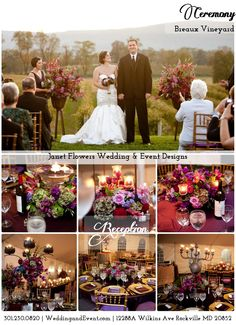 Ceremony and Reception- Breaux Vineyard | Purples & Reds & Greens | Janet Flowers Wedding and Event Designs