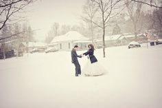 Play outside in the snow in your wedding dress
