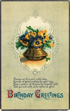 Birthday Greetings Victorian pansy card
