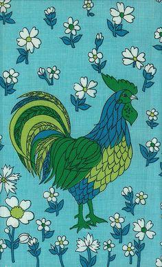 Vintage cockerel fabric.