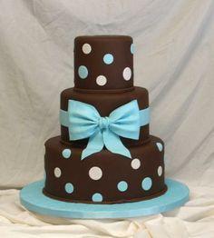 Chocolate Blue Bow Polka Dot Cake