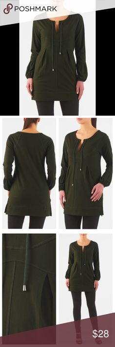 "New Eshakti Green Tunic Top 16W New Eshakti green cotton knit top 16W Measured flat: Underarm to underarm: 40"" Waist: 39"" Length: 30"" Sleeve: 19 1/2"" Hips: 48"" Eshakti size guide for 16W bust: 43"" Banded split neck, drawstring ties, front bib, curved empire waist. Banded hem w/ side vents. Poet sleeves w/ ruched cuffs. Slips on overhead. Cotton/spandex, jersey knit, light stretch, light structured feel, midweight, machine wash. New w/ cut out Eshakti tag to prevent returning to Eshakti…"