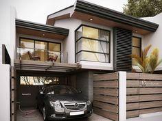 Modern Tropical House, Modern Small House Design, Modern Zen House, Townhouse Designs, Bungalow House Design, Facade House, House Layouts, Modern Architecture, Building A House