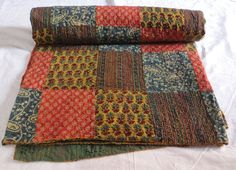 Indian Handmade flower printed Kantha Quilt Throw Ralli patch work printed Gudari bed sheet floral kantha throw bedspread by textileszone on Etsy