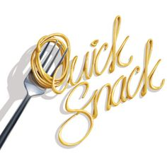 Digital Typography with food. Spaghetti and fork for a quick snack.