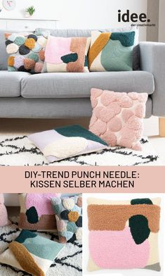Diy Pillow Covers, Diy Pillows, Cushions, Throw Pillows, Punch Needle Set, Punch Needle Patterns, Weaving Projects, Diy Projects, Needle Cushion
