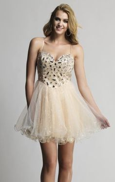 Beaded Sweetheart Dress by Dave and Johnny 9472