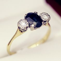 $2,950.00 Vintage Sapphire and Diamond trilogy ring, Past, Present, Future Engagement ring