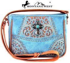 Montana West~Turquoise Cross Messenger Bag~Bling Studs~Scroll Design~Purse~Blue #MontanaWest #MessengerCrossBody