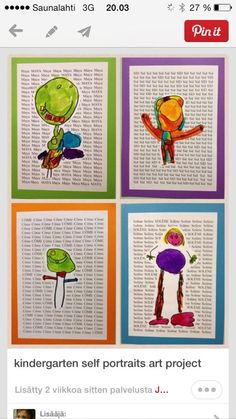 Kindergarten self portraits art project. typed names, learn copy and paste to fill up paper, ask computer teacher if possible to do that in class, Kindergarten Self Portraits, Kindergarten Art Lessons, Self Portrait Art, Foto Portrait, Art Classroom, Classroom Activities, Auction Projects, Art Projects, Art Sub Plans