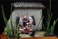 MG 1/100 Sengoku Astray Red Frame 'A Resting Warrior' - Diorama Build
