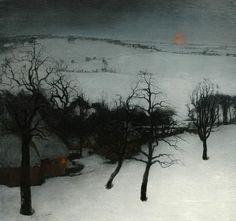Winter landscape by Valerius de Saedeleer (Belgian 1867 - Winter Landscape, Landscape Art, Landscape Paintings, Snow Art, Winter Art, Winter Painting, Gustav Klimt, Nocturne, Painting & Drawing