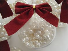 Clear Christmas ball with beads - so elegant and classy - love !