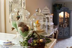 There is so much you can do with vintage jars and seasonal decor.