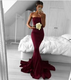Sexy Strapless Burgundy Long Prom Dresses 2017 Mermaid Satin Court Train Black Prom Party Gowns Vestido De Noche