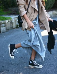 Kick it + pair of ankle high converse + Stella Wants To Die + classic style + perfect with jeans + skirt + dress  Dress/Trench: Compañía Fantástica, Bag: Gucci, Sneakers: Converse.