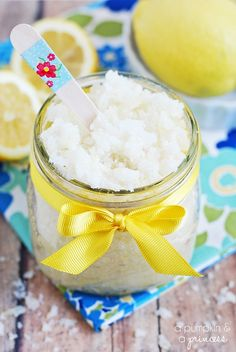 DIY Lemon Sugar Scrub: i just made thisand it's ALMOST as good as the body shop one... for how insanelycheap it is to make with ingredients i already had, i'm notcomplaining.